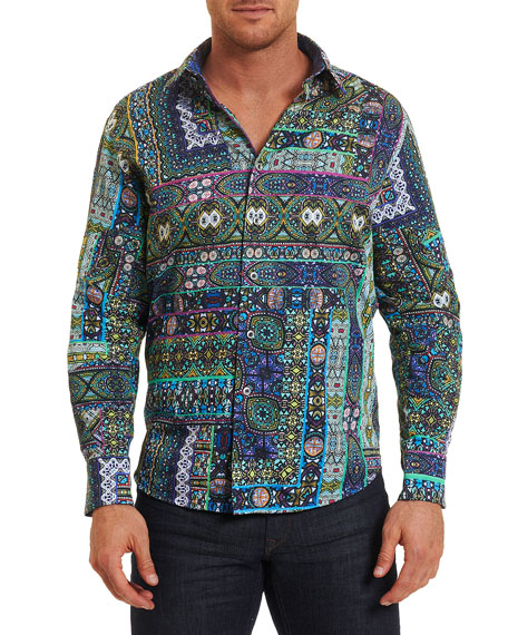 Robert Graham Garland Mosaic-Print Sport Shirt, Medium Green