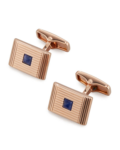 Art Deco Rose Golden Sodalite Cuff Links