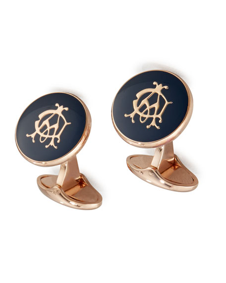 dunhill Bourdon Logo Rose Golden Cuff Links