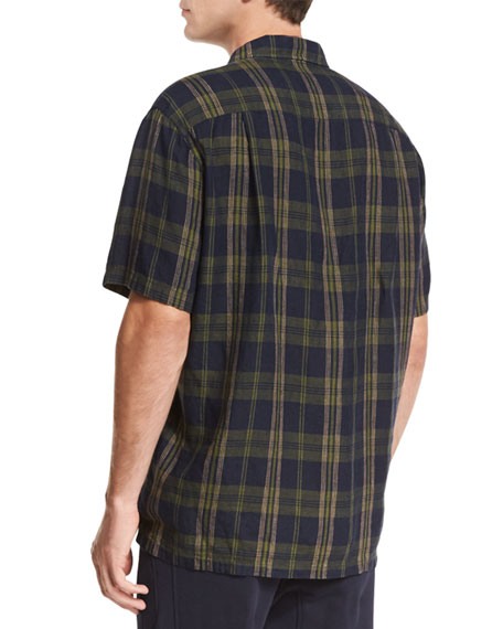 Plaid Short-Sleeve Cabana Shirt, Blue/Green