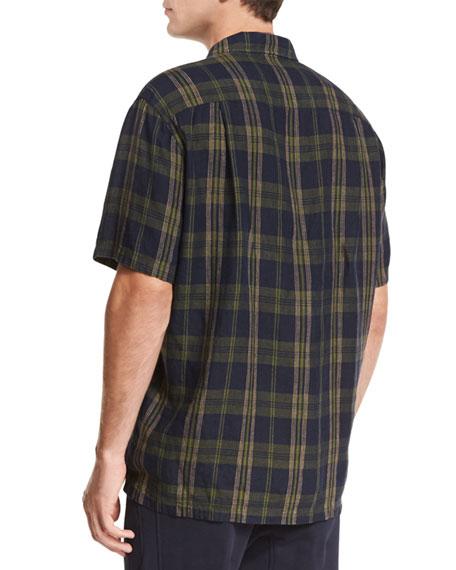 Plaid Short-Sleeve Cabana Shirt, Blue/Green