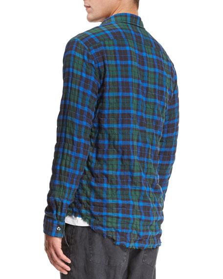 Frayed-Hem Plaid Western Shirt, Green/Blue