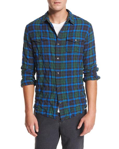 Vince Frayed-Hem Plaid Western Shirt, Green/Blue