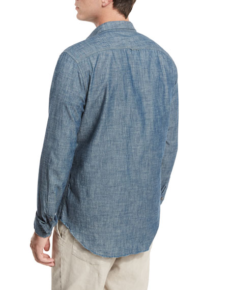 Vince Distressed Chambray Utility Shirt, Blue