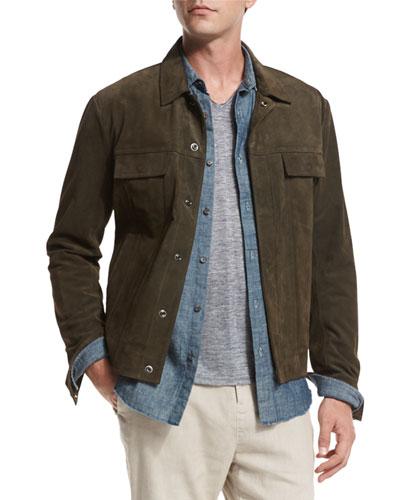 Suede Trucker Jacket, Olive