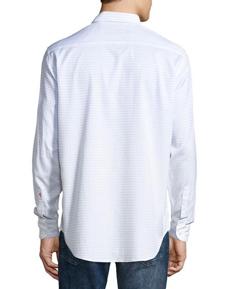Parth Check Sport Shirt, White