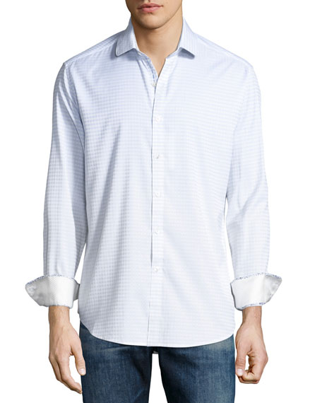 Robert Graham Parth Check Sport Shirt, White