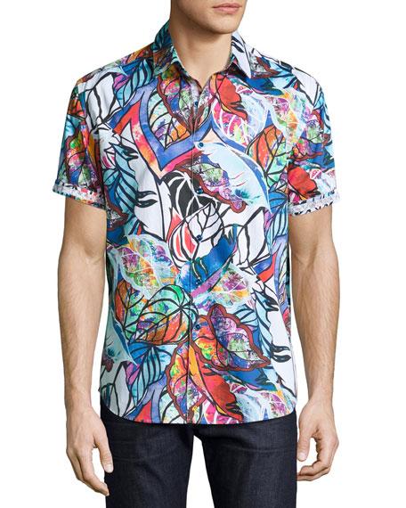 Robert Graham Caprica Short-Sleeve Leaf-Print Sport Shirt, Multi