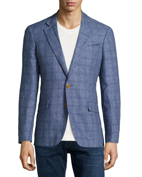 Mundu Plaid Woven Sport Coat, Blue