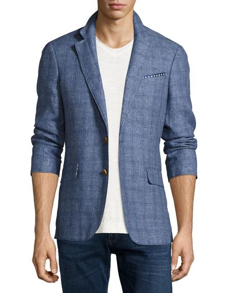 Mundu Plaid Woven Sport Coat, Blue