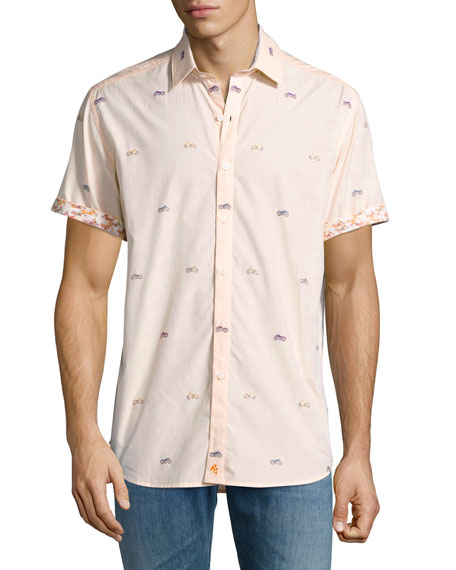 Robert Graham Motorcycle-Print Short-Sleeve Sport Shirt, Tangerine