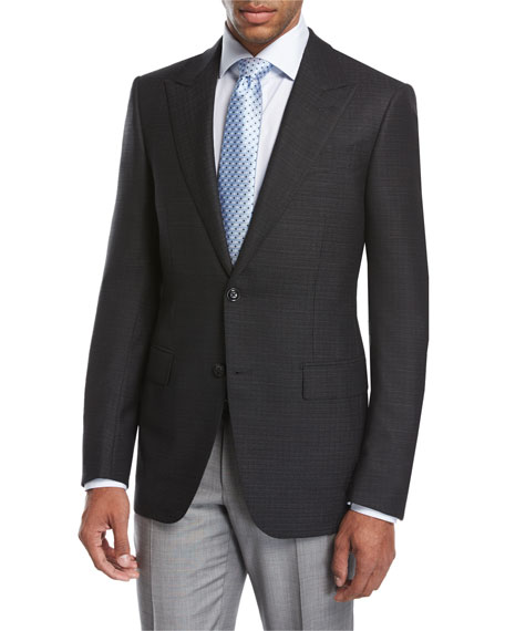 Textured Wool-Silk Peak-Lapel Sport Coat, Black