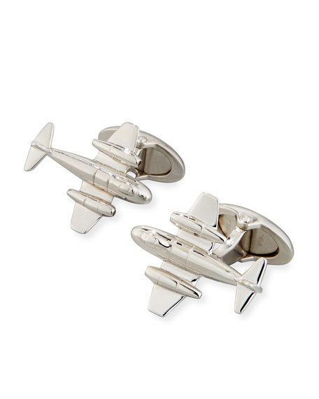 Meteor Rhodium-Plated Silver Cuff Links