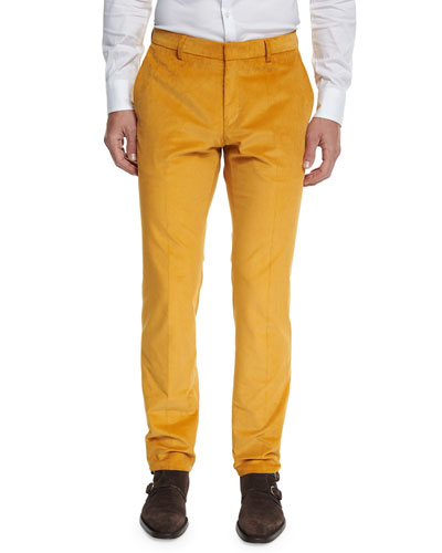 Stanino Flat-Front Corduroy Trousers, Gold