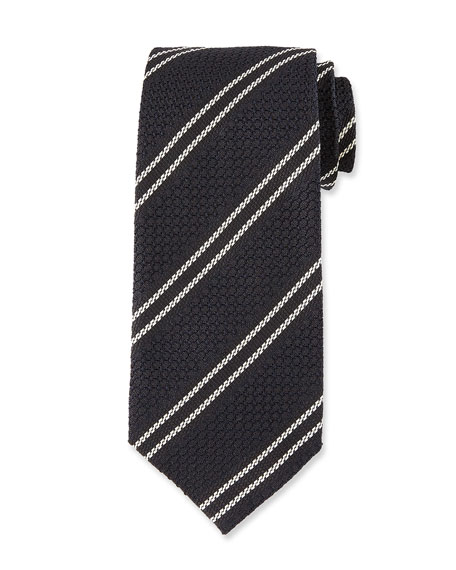 Retro 3D Stripe Silk Tie, Black