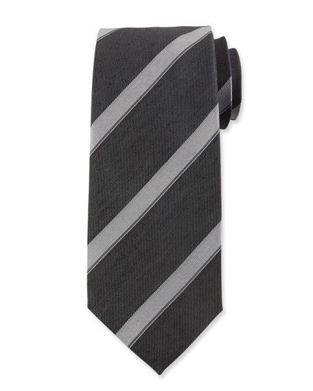 Wide Diagonal Stripe Silk Tie, Black