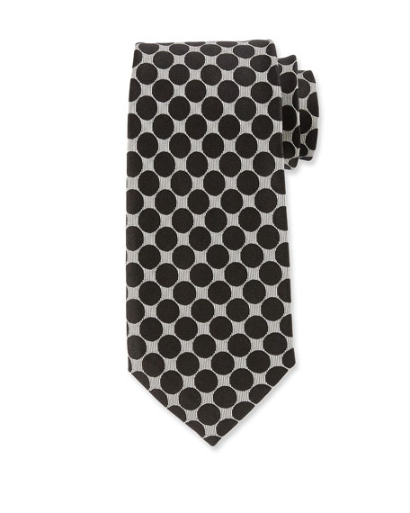 Large Dot Silk Tie, Black