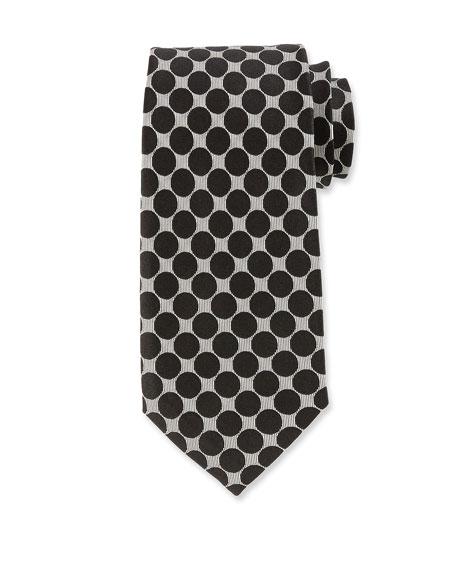 Large Dot Silk Tie, Black