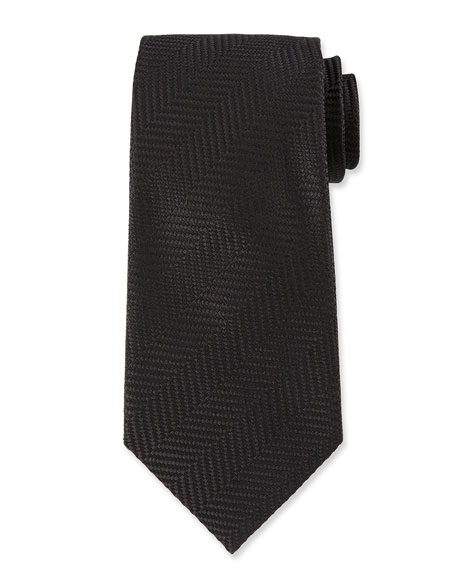 Tweed Herringbone Stripe Silk Tie, Black