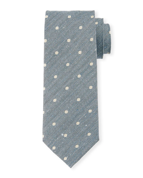 Textured Polka Dot Tie, Blue