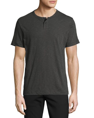 Gaskell Nebulous Short-Sleeve Henley T-Shirt, Dark Gray