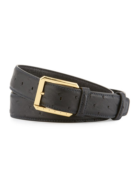 Ostrich Golden Buckle Belt, Black