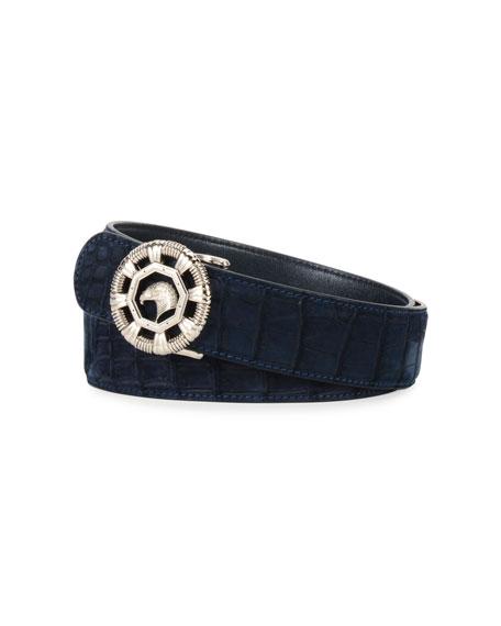 Eagle Crocodile Belt, Blue