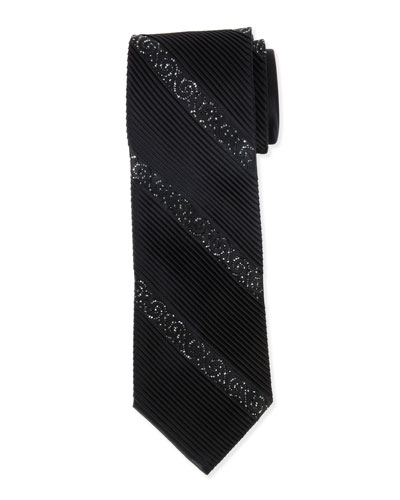 Diagonal-Crystals Pleated Silk Tie, Black