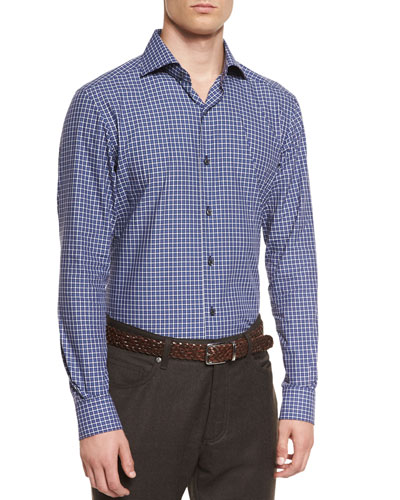 Small Check Long-Sleeve Sport Shirt, Navy