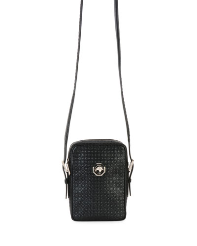 Small City Stamped Leather Crossbody Bag, Black
