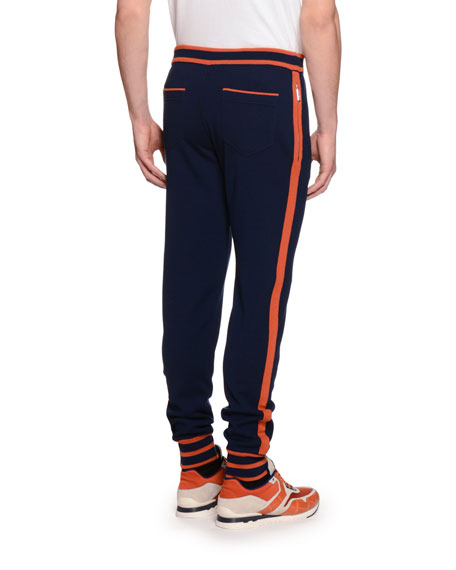 Contrast-Trim Drawstring Jogging Pants, Navy