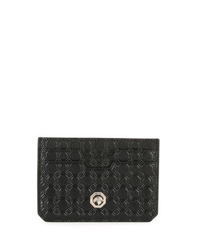Stamped Leather Card Case, Black