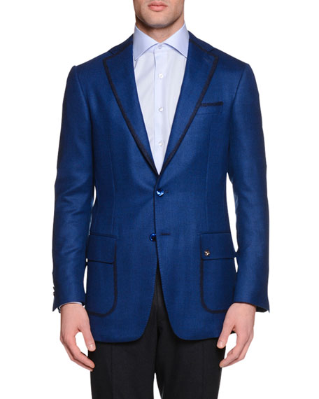 Cashmere-Blend Two-Button Sport Coat, Blue