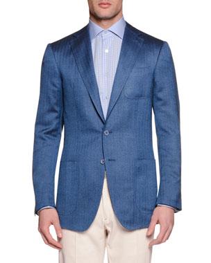 Stefano Ricci Wool Silk Two Button Sport Coat Blue