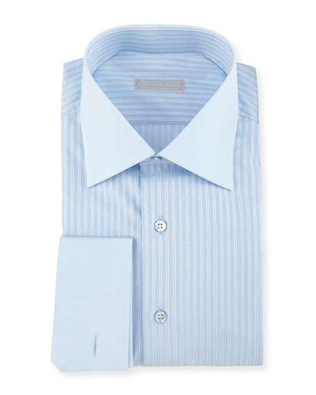 Contrast Collar/French-Cuff Striped Dress Shirt, Bluette