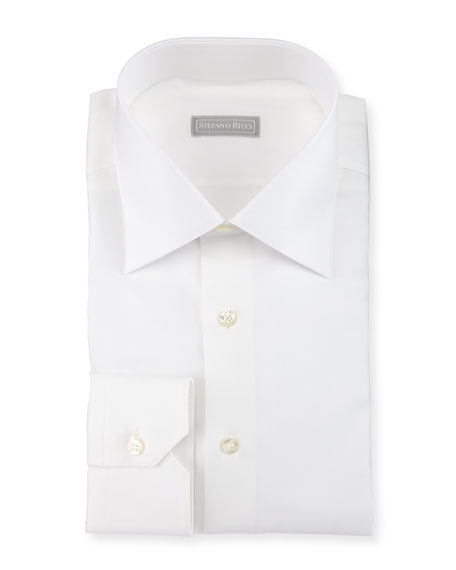 Solid-Color Dress Shirt, White