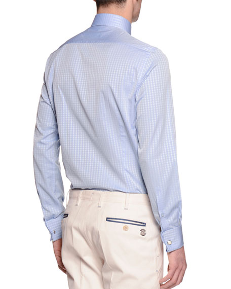Check French-Cuff Sport Shirt, Light Blue