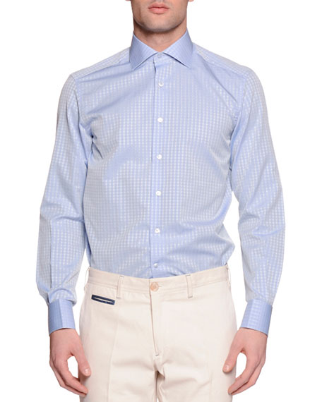 Stefano Ricci Check French-Cuff Sport Shirt, Light Blue