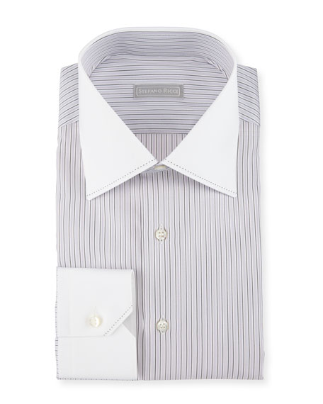 Stefano Ricci Contrast Collar/Cuff Striped Dress Shirt, Purple