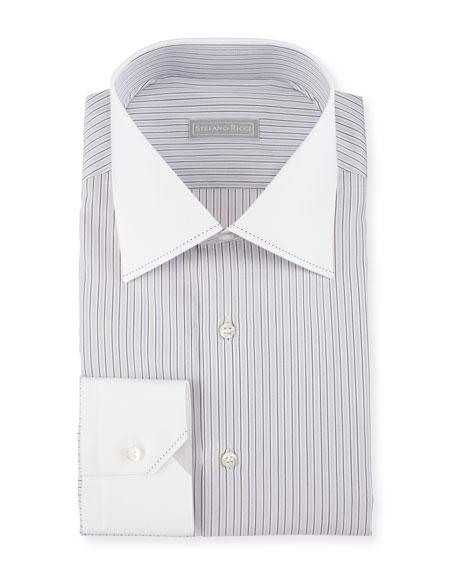 Contrast Collar/Cuff Striped Dress Shirt, Purple