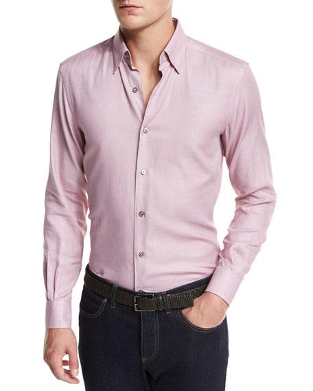 Ermenegildo Zegna Solid Woven Sport Shirt, Dark Pink
