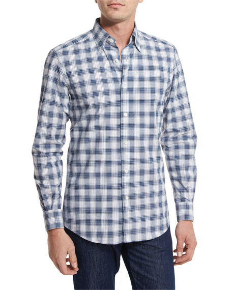 Ermenegildo Zegna Check Plaid Sport Shirt, Navy