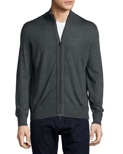 High-Collar Full-Zip Cardigan, Dark Gray