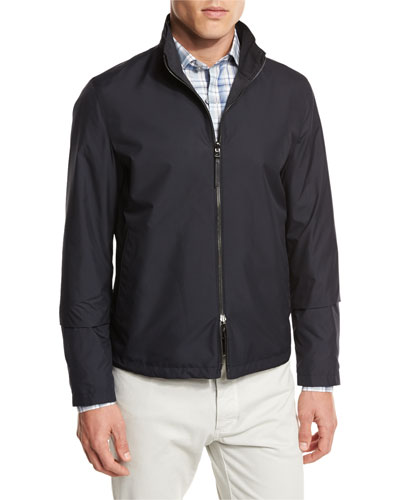 Reversible Tech Bomber Jacket, Navy