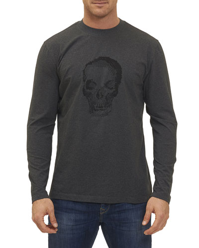 Bandits Skull-Embroidered Long-Sleeve T-Shirt, Charcoal