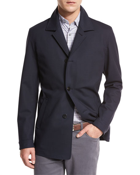 Ermenegildo Zegna Wool Jersey Car Coat, Navy
