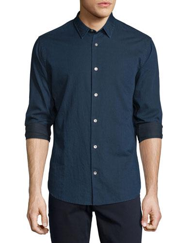 Twill Long-Sleeve Sport Shirt, Indigo