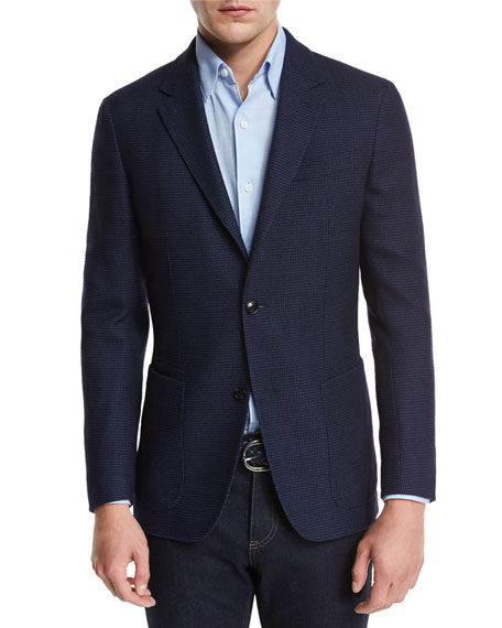 Ermenegildo Zegna Textured Check Wool-Silk Sport Coat, Navy