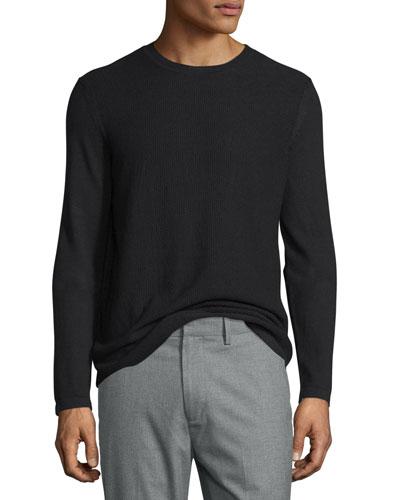 Jersey Long-Sleeve Crewneck Sweater, Black