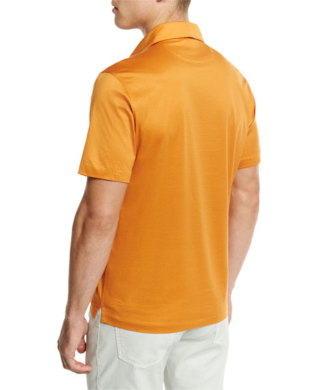 Mercerized Cotton Polo Shirt, Bright Orange